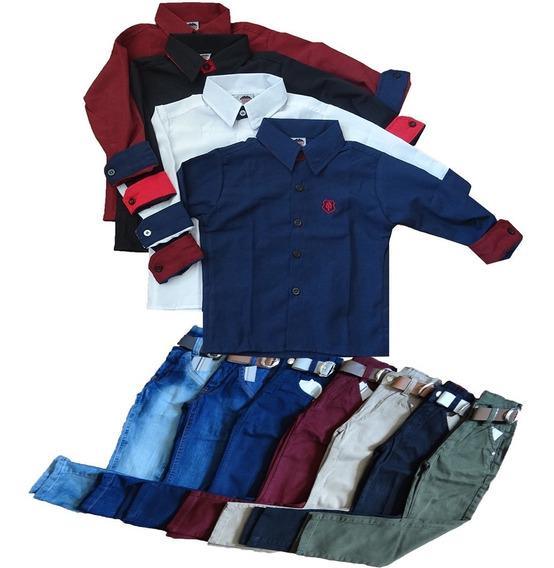 2 Calças Jeans Infantil Masculina + 2 Camisas Do 02 Ao 08