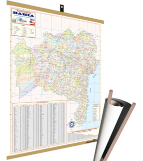 Mapa Estado Bahia Banner Moldura Laminado Grande 120x90cm