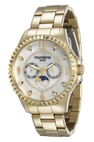 Relógio Mondaine Feminino Dourado Calend Lunar 78664lpmvda1