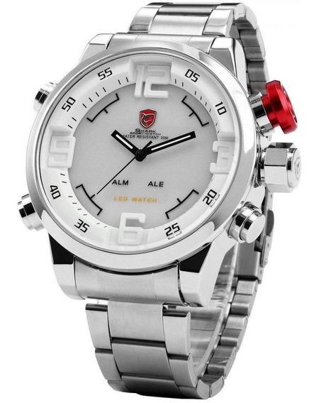 Relógio Masculino Shark Anadigi Sh-104 - Prata E Branco