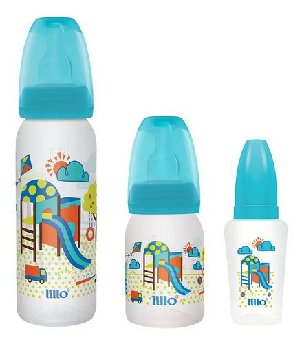 Kit 3 Mamadeiras Evolução Divertida 50/120/240ml Azul- Lillo