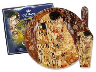 Plato En Cristal Redondo 27cm Con Espátula El Beso Klimt