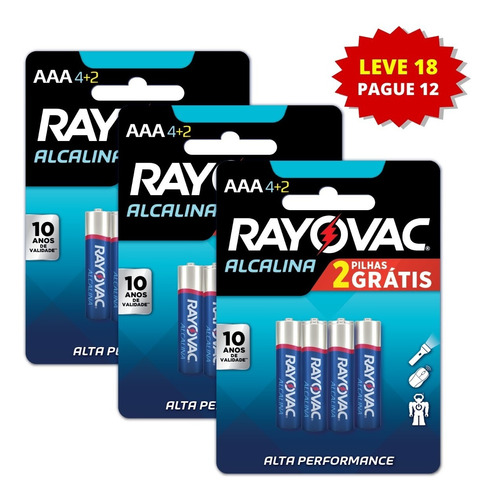 18 Pilhas Alcalinas Rayovac Aaa - Leve 18 Pague 12