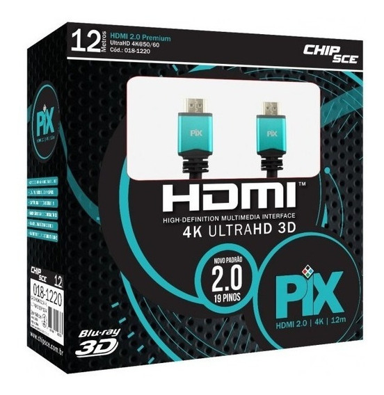 Cabo Hdmi 12m 12 Metros 2.0 Full Hd 4k 19 Pinos Chip Sce