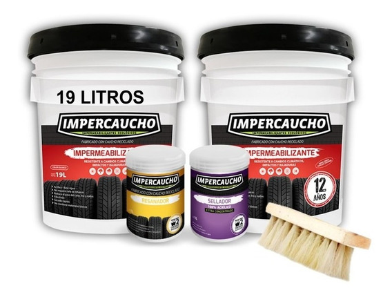 Kit Impercaucho 2 Cubetas 19l Sellador + Resanador + Cepillo