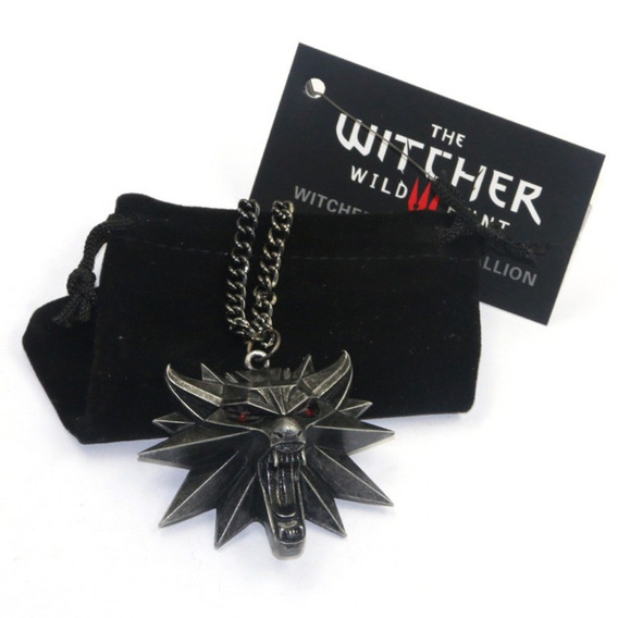 Colar The Witcher 3 Wild Hunt Geralt Rivia Medalhão De Lobo