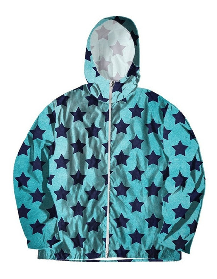 Jaqueta Corta Vento Retro Estampada Estrelas Stars Azul