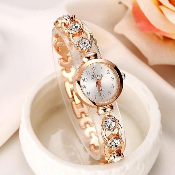 Relógio De Pulso Feminino Dourado Pedras Strass Pequeno Luxo