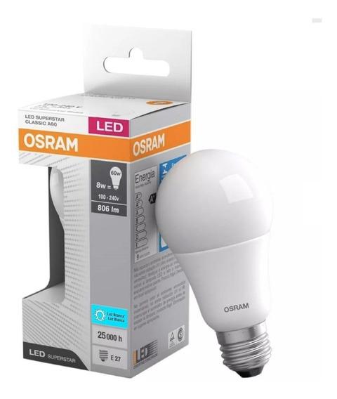 Kit 50 Lampada Led 8w Bulbo Branca Bivolt Certificada Osram