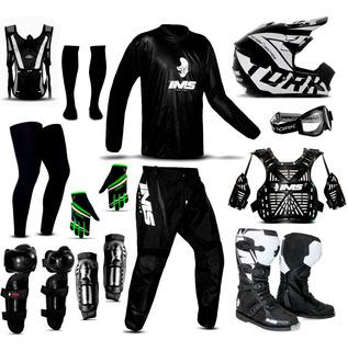 Kit Trilha Adulto Motocross Conjunto Roupa Equipamento Ims