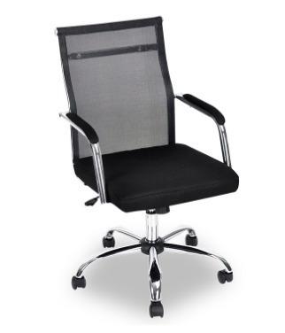 Cadeira Com Tela Mesh Base Cromada Ajusta Altura Giratória