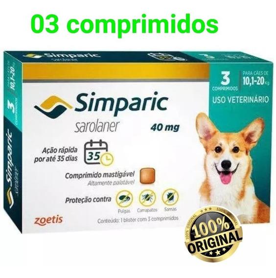 Simparic 40 Mg 10 A 20 Kg 3 Comp. Anti-pulgas E Carrapatos