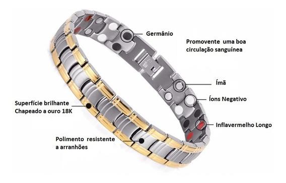 Pulseira Prata Com 4 Elementos De Terapia Magnética - Unisex