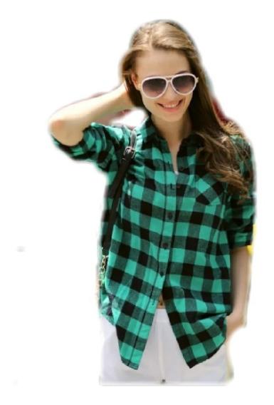 Camisas Entalladas Cuadros Mujer- Escocesa - Primavera - 19