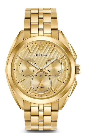 Relógio Bulova Curv Masculino Wb31890g 97a125 Dourado