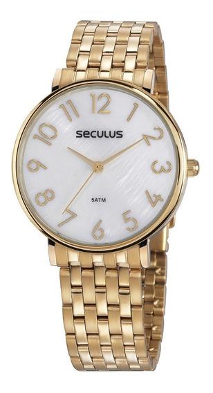 Relógio Seculus Feminino Dourado + Garantia + Nf