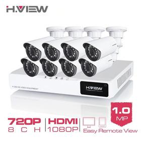 Kit Cftv Dvr 8 Canais + 8 Câmera Hd 720p + 8 Cabos 18mt