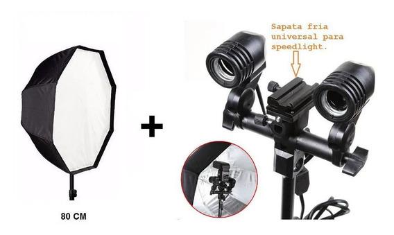 Kit Iluminação Soquete Duplo Softbox 80cm Octa Tripe Estúdio