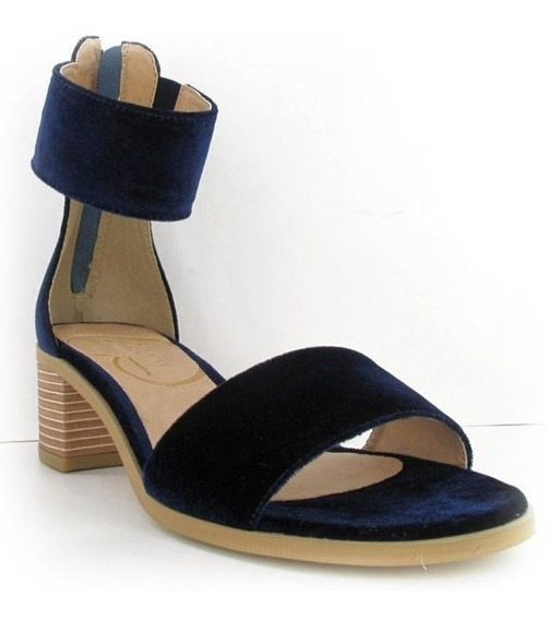 Sandalia De Tacón Grueso Para Dama Azul Marino 003038