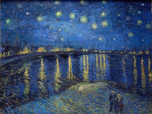 Gravura Foto Hd 60x80cm Obra Noite Estrelada Sobre O Ródano