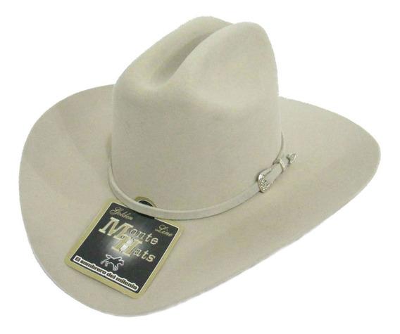 Sombrero Texana Monte 50x Arena Ala 10cm 100% Lana Fina.