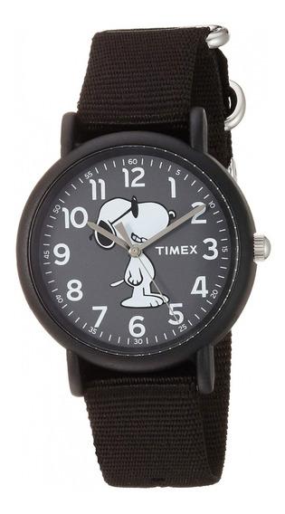 Reloj Timex Maquina Del Tiempo Snoopy Correa Negro