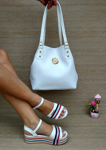 Combo Blanco Sandalia Y Bolso Hermoso Para Dama Moda