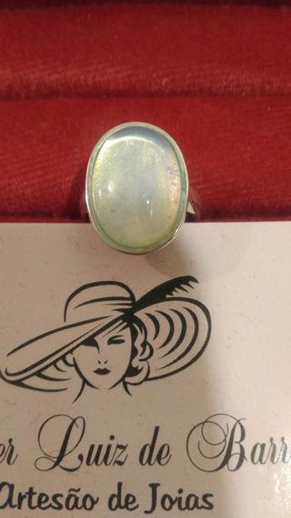 Anel De Prata 950k Com Pedra Da Lua Oval - Pedra Opalina