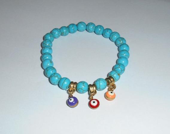Pulseira De Pedra Azul Turquesa Trio De Olho Grego