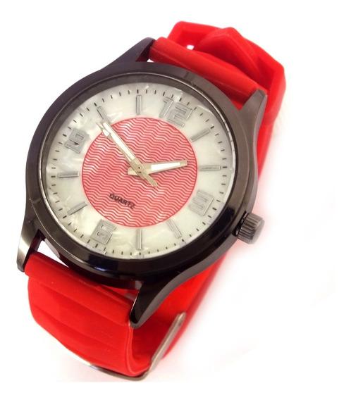 Relógio Feminino Quartz Com Pulseira Vermelha Borracha B5624