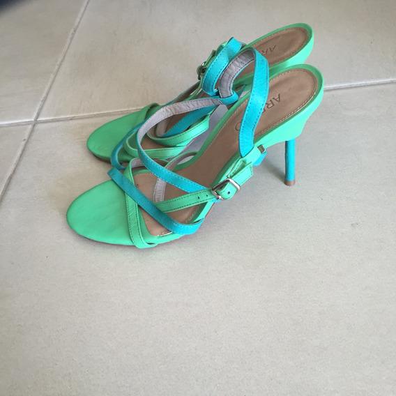 Sandália Arezzo Verde E Azul