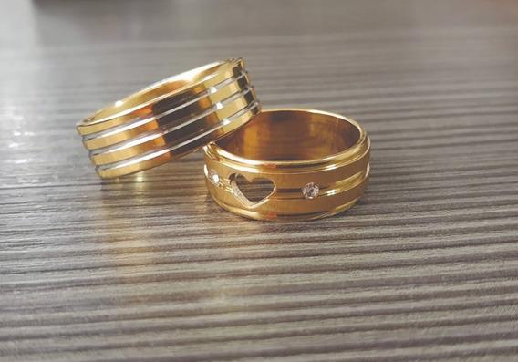 Aliança De Noivado Banhado A Ouro 18k O Par