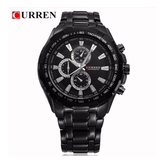 Relógio Masculino Aço Inox Curren Preto 8023 Pronta Entrega