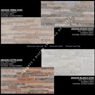 Ceramica Carabobo 30x60 Serie Aragon Cotto Musgo Terra Blanc