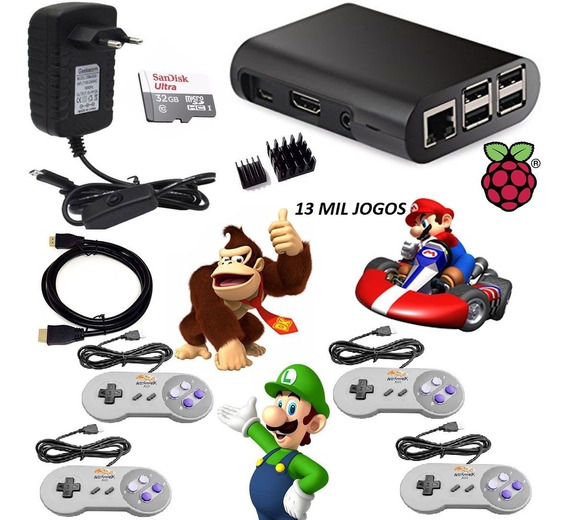 Video Game Retrô + 13.000 Jogos + 4 Controles + 32gb