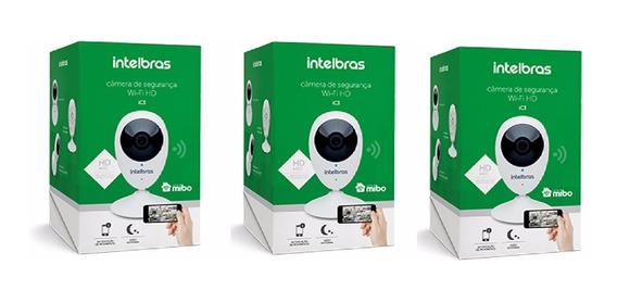 Kit 3 Câmera Wi-fi Ic3 Hd 720p Intelbras Sem Juros