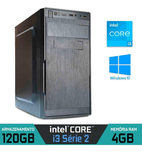 Imagem 1 de 1 de Computador Intel Core I3 Série 2, Ram 4gb, Ssd 120gb, Win 10