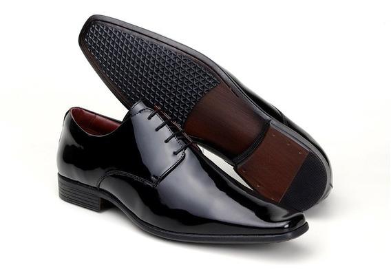 Sapato Social Masculino Luxo Italiano Classico Verniz Couro