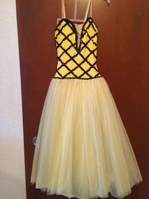 Vestido De Ballet Color Amarillo Bordado En Lentejuela Negra