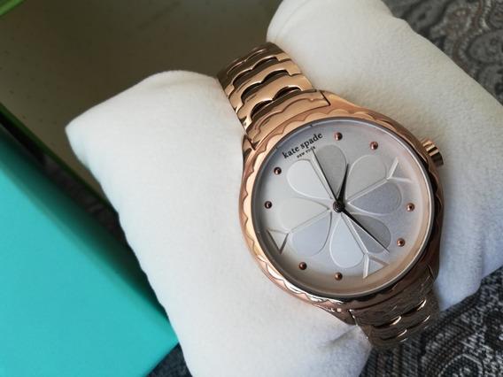 Reloj De Dama Kate Spade Original Dorado Car Blanco Ceramica