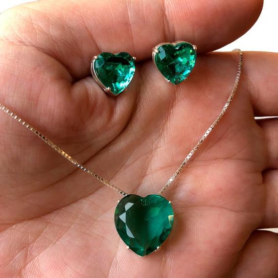 Colar + Brinco Coração Verde Turmalina Grande Prata Legítima