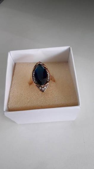 Anel - Pedra Azul Safira C/strass