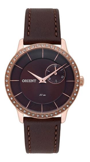 Relógio Orient Feminino Frscm009 N1nx Rosê Marrom Aço Oferta