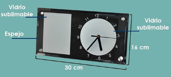 12 Relojes Rectangulares Fondo Espejo Sublimarts 30x16 Cm