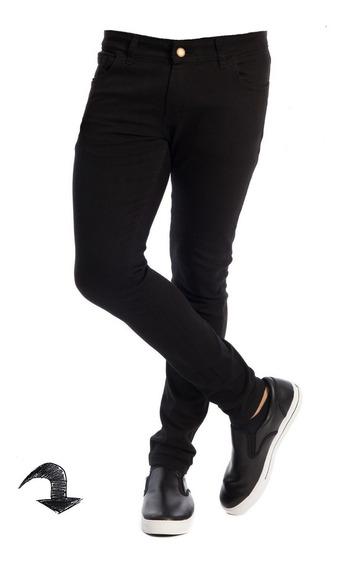 Jean Chupin Negro Hombre Elastizado Maxima Calidad Pantalon