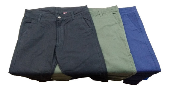 Pantalon De Gabardina Chupin Elastizado Hombre Corte Chino