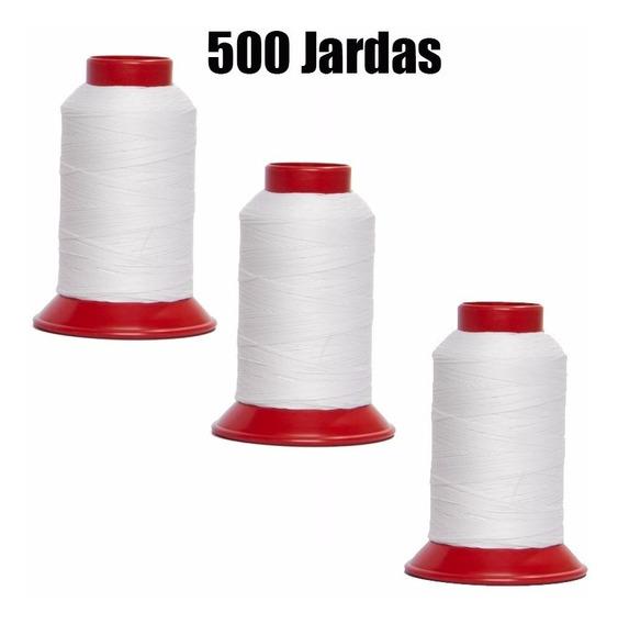 3 Linhas De Pipa 500 Jardas Cor Branca 100% Algodão Oferta