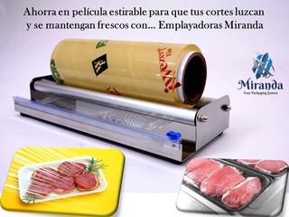 Emplayadora Alimentos 50cm Miranda- Carnicería Acero Inox Con Cuchilla De Corte Preciso. Cero Electricidad Cero Quemadas