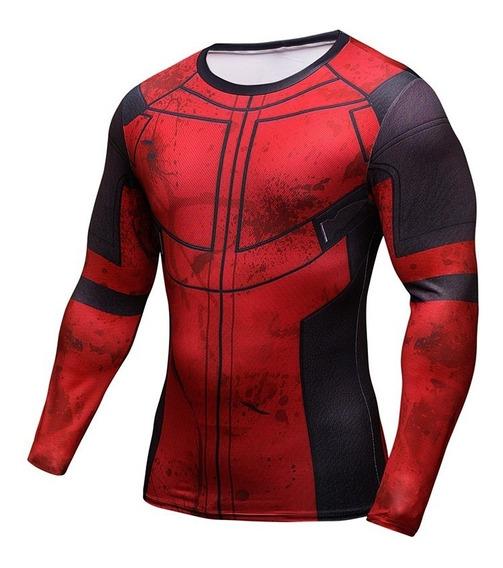 Polera Lycr Spandex Superman Batman Spiderman Deadpool