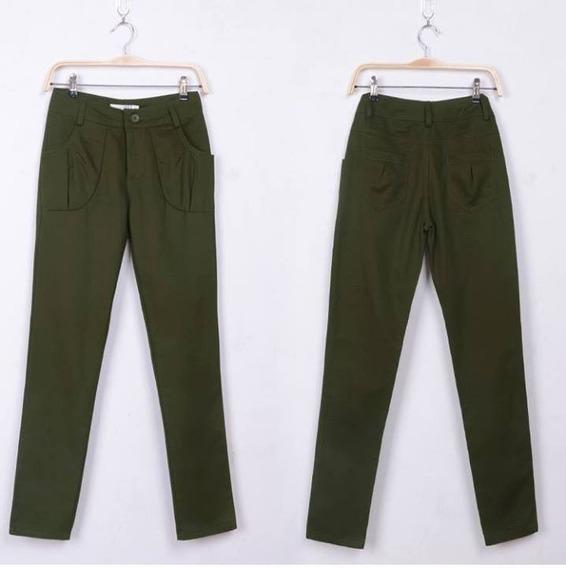 Pantalon Casual Color Army Green.